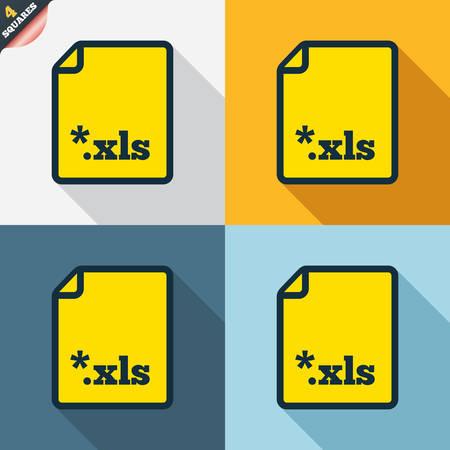 sobresalir: Icono de documento de archivo de Excel. Descargar bot�n xls. Archivo XLS s�mbolo extensi�n. Cuatro cuadrados. Botones coloreados dise�o plano. Vector