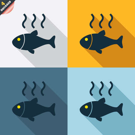 Fish hot sign icon. Cook or fry fish symbol. Four squares. Colored Flat design buttons. Vector Vector
