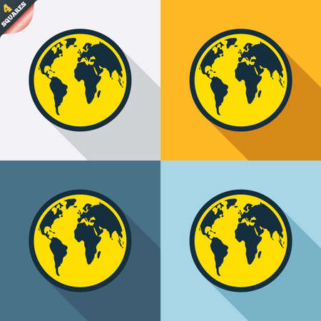 Globe sign icon. World map geography symbol. Four squares. Colored Flat design buttons. Vector Vector