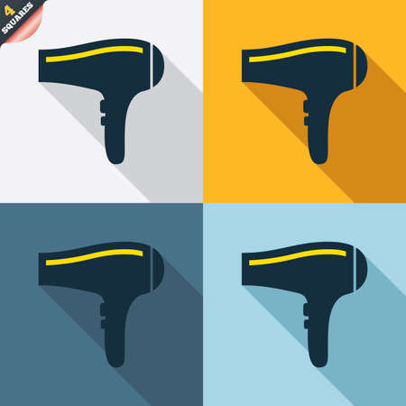 blow drying: Hairdryer sign icon. Hair drying symbol. Four squares. Colored Flat design buttons. Vector