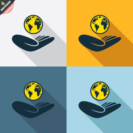 world peace: World insurance sign. Hand holds planet symbol. Travel insurance. World peace. Four squares. Colored Flat design buttons. Vector