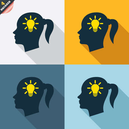 Head with lamp bulb sign icon. Female woman human head idea with pigtail symbol. Four squares. Colored Flat design buttons. Vector