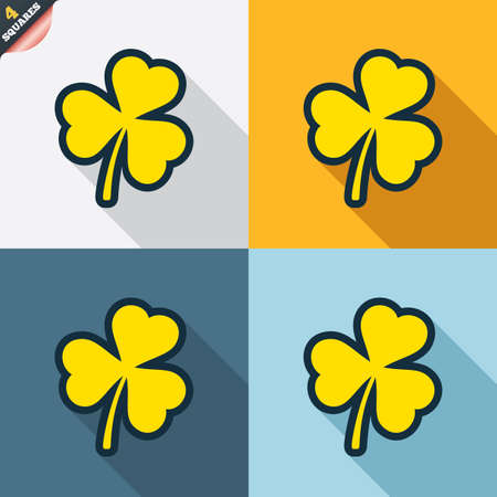 trefoil: Clover with three leaves sign icon. Trifoliate clover. Saint Patrick trefoil symbol. Four squares. Colored Flat design buttons. Vector