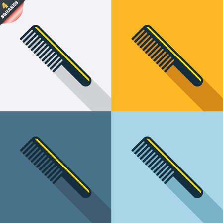 comb hair: Pettine capelli sign icon. Simbolo Barber. Quattro piazze. Tasti colorati Design piatto. Vettore