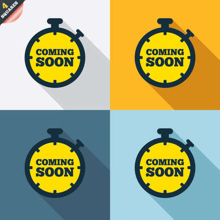 coming: Coming soon sign icon. Promotion announcement symbol. Four squares. Colored Flat design buttons. Vector