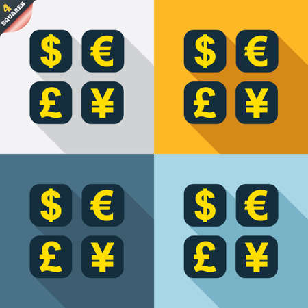 Currency exchange sign icon. Currency converter symbol. Money label. Four squares. Colored Flat design buttons. Vector