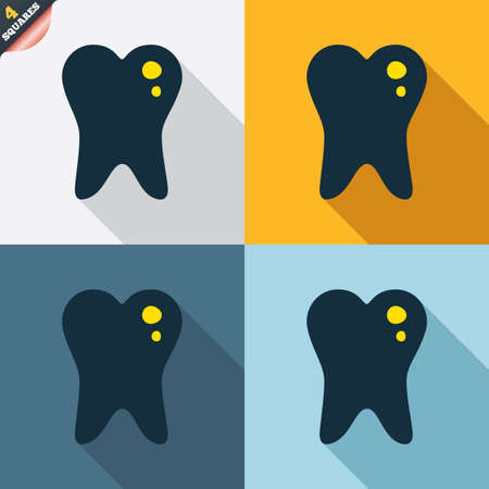 stomatologist: Caries tooth icon. Tooth filling sign. Dental care symbol. Four squares. Colored Flat design buttons. Vector Illustration