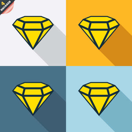 wrapped corner: Diamond sign icon. Jewelry symbol. Gem stone. Four squares. Colored Flat design buttons. Vector Illustration