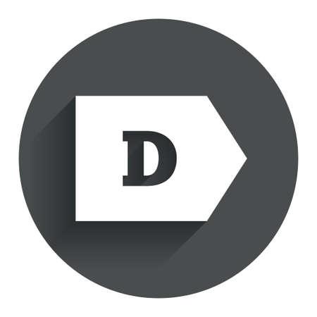 consumo energia: L'efficienza energetica di classe D sign icon. Energia simbolo consumi. Bottone piatto Cerchio con ombra. Sito web UI navigazione moderna. Vettore