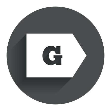 consumo energia: Classe di efficienza energetica G sign icon. Energia simbolo consumi. Bottone piatto Cerchio con ombra. Sito web UI navigazione moderna. Vettore Vettoriali