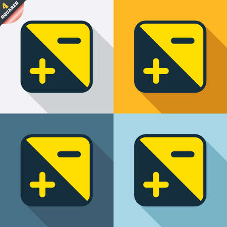 luminance: Exposure photo camera sign icon. Quantity of light settings. Four squares. Colored Flat design buttons. Vector