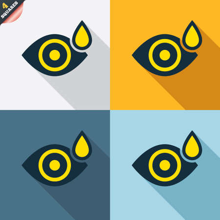 four eyes: Eye with water drop sign icon. Drip into the eyes symbol. Four squares. Colored Flat design buttons. Vector
