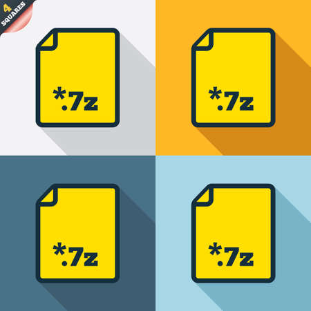 zipped: Archive file icon. Download compressed file button. 7z zipped file extension symbol. Four squares. Colored Flat design buttons. Vector Illustration