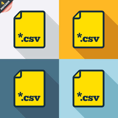 csv: File document icon. Download tabular data file button. CSV file extension symbol. Four squares. Colored Flat design buttons. Vector Illustration