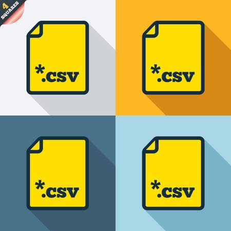 tabellare: File icona del documento. Scaricare pulsante tabellare file di dati. CSV simbolo estensione del file. Quattro piazze. Tasti colorati Design piatto. Vettore