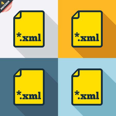 extensible: File document icon. Download XML button. XML file extension symbol. Four squares. Colored Flat design buttons. Vector