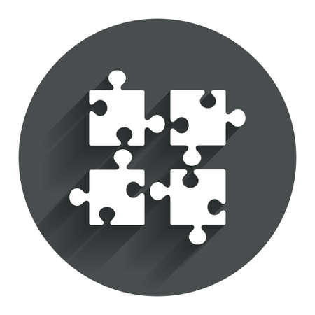 ingenuity: Puzzles pieces sign icon. Strategy symbol. Ingenuity test game. Circle flat button with shadow. Modern UI website navigation. Vector