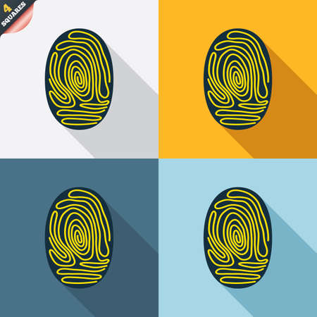 fingermark: Fingerprint sign icon. Identification or authentication symbol. Four squares. Colored Flat design buttons. Vector Illustration
