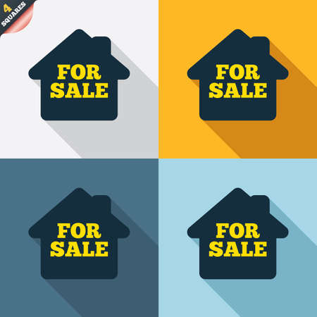 For sale sign icon. Real estate selling. Four squares. Colored Flat design buttons. Vector Vector