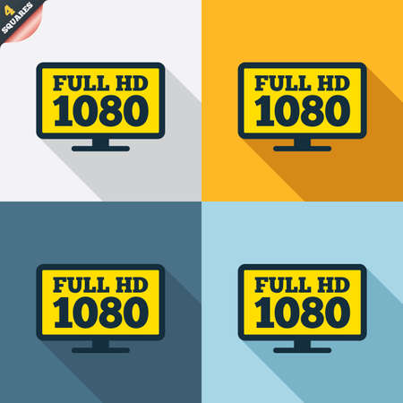 full hd: Full hd widescreen tv sign icon. 1080p symbol. Four squares. Colored Flat design buttons. Vector