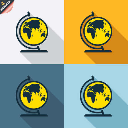 Globe sign icon. World map geography symbol. Globe on stand for studying. Four squares. Colored Flat design buttons. Vector Vector
