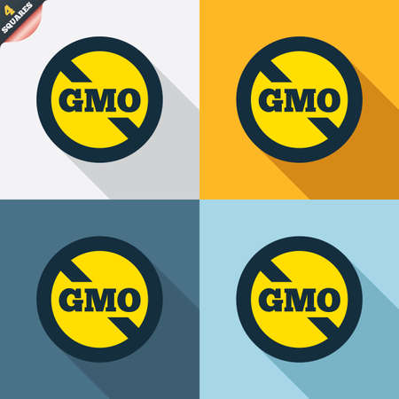 genetically: No GMO sign icon. Without Genetically modified food. Stop GMO. Four squares. Colored Flat design buttons. Vector Illustration