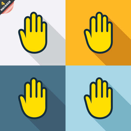 give me five: Hand sign icon. No Entry or stop symbol. Give me five. Four squares. Colored Flat design buttons. Vector
