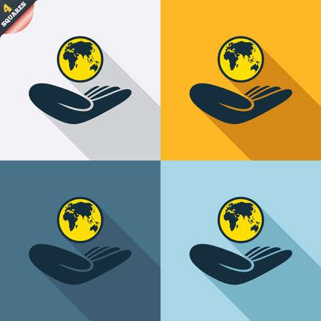 paix monde: Signe d'assurance mondiale. Main tient symbole plan�te. Voyage d'assurance. La paix mondiale. Quatre carr�s. Couleur des boutons plats de conception. Vecteur