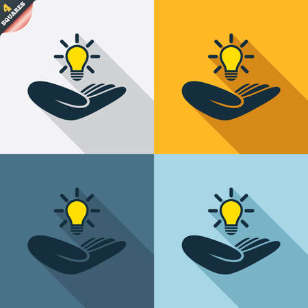 patent: Idea patent insurance sign. Hand holds lamp bulb symbol. Intellectual Property. Four squares. Colored Flat design buttons. Vector