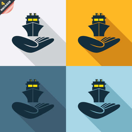 wrapped corner: Shipment insurance sign. Hand holds ship symbol. Four squares. Colored Flat design buttons. Vector