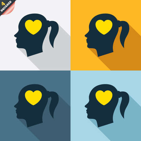 pigtail: Head with heart sign icon. Female woman human head in love with pigtail symbol. Four squares. Colored Flat design buttons. Vector
