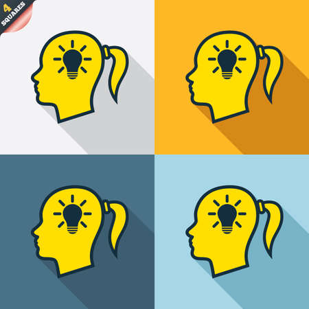 pigtail: Head with lamp bulb sign icon. Female woman human head idea with pigtail symbol. Four squares. Colored Flat design buttons. Vector