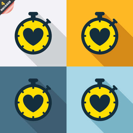 palpitation: Heart Timer sign icon. Stopwatch symbol. Heartbeat palpitation. Four squares. Colored Flat design buttons. Vector