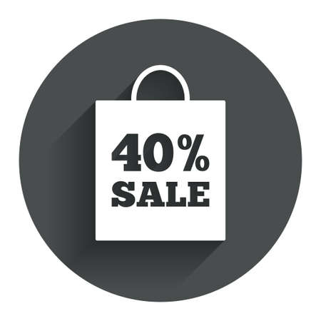 40% sale bag tag sign icon. Discount symbol. Special offer label. Circle flat button with shadow. Modern UI website navigation. Vector Vector