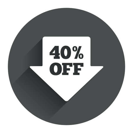 40% sale arrow tag sign icon. Discount symbol. Special offer label. Circle flat button with shadow. Modern UI website navigation. Vector Vector