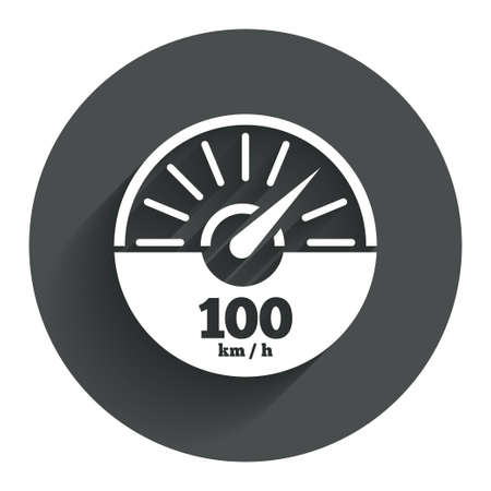 km: Tachometer sign icon. 100 km per hour revolution-counter symbol. Car speedometer performance. Circle flat button with shadow. Modern UI website navigation. Vector