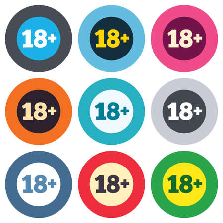 18 plus years old sign. Adults content icon. Colored round buttons. Flat design circle icons set. Vector Vector