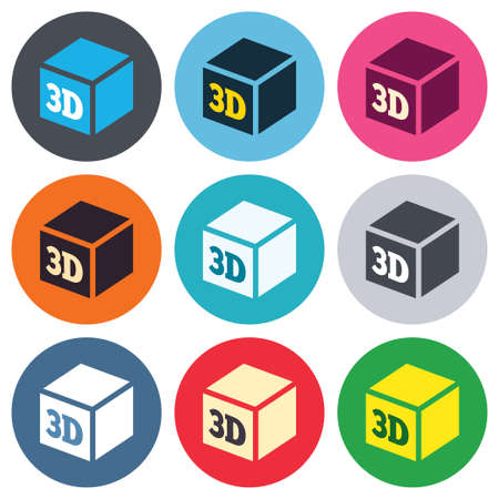 additive manufacturing: 3D Print sign icon. 3d cube Printing symbol. Additive manufacturing. Colored round buttons. Flat design circle icons set. Vector