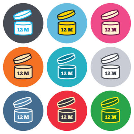 quality of life: After opening use 12 months sign icon. Expiration date. Colored round buttons. Flat design circle icons set. Vector