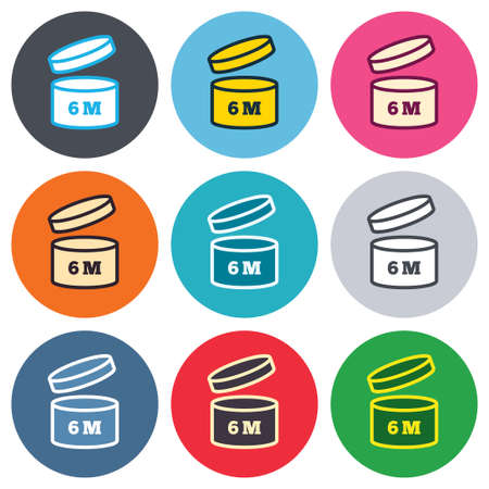 expiration date: After opening use 6 months sign icon. Expiration date. Colored round buttons. Flat design circle icons set. Vector Illustration