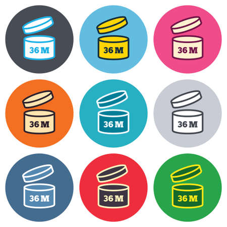 expiration date: After opening use 36 months sign icon. Expiration date. Colored round buttons. Flat design circle icons set. Vector Illustration