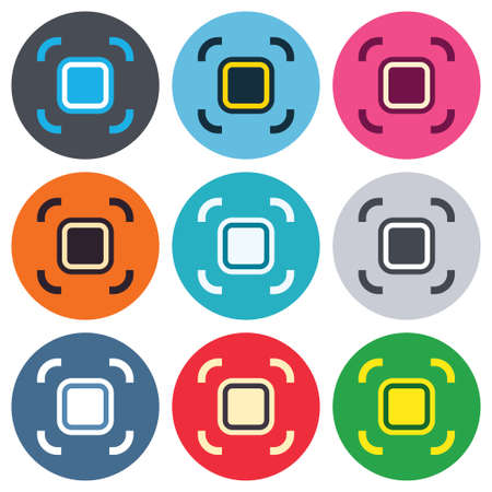 autofocus: Autofocus zone sign icon. Photo camera settings. Colored round buttons. Flat design circle icons set. Vector Illustration