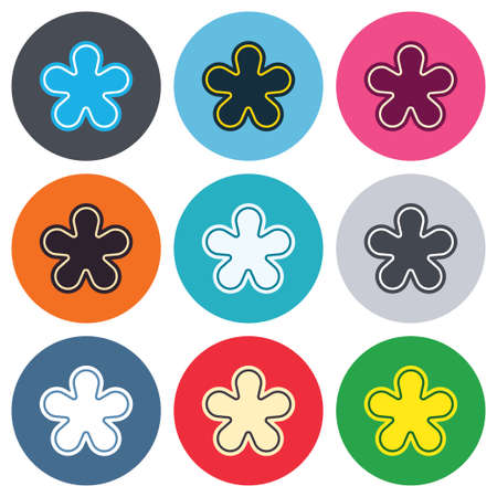more information: Asterisk round footnote sign icon. Star note symbol for more information. Colored round buttons. Flat design circle icons set. Vector