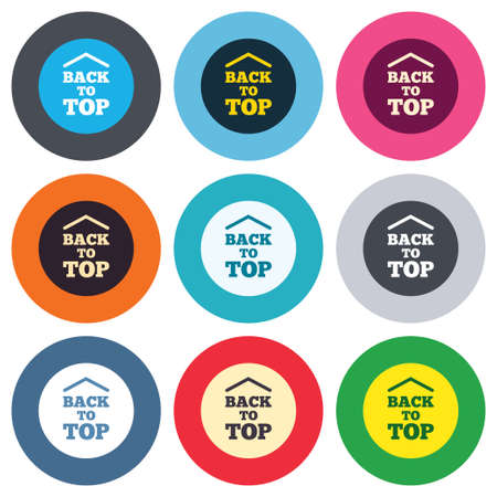 Back to top arrow sign icon. Scroll up page symbol. Colored round buttons. Flat design circle icons set. Vector Vector