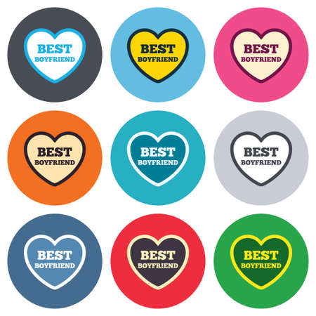 boyfriend: Best boyfriend sign icon. Heart love symbol. Colored round buttons. Flat design circle icons set. Vector