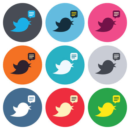 bird beaks: Bird icon. Social media sign. Short messages  retweet symbol. Speech bubble. Colored round buttons. Flat design circle icons set. Vector Illustration