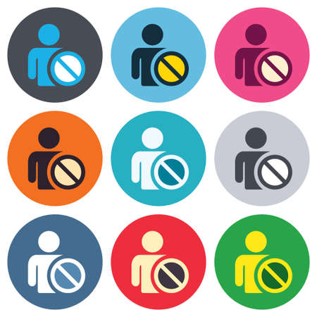 Blacklist sign icon. User not allowed symbol. Colored round buttons. Flat design circle icons set. Vector Vector