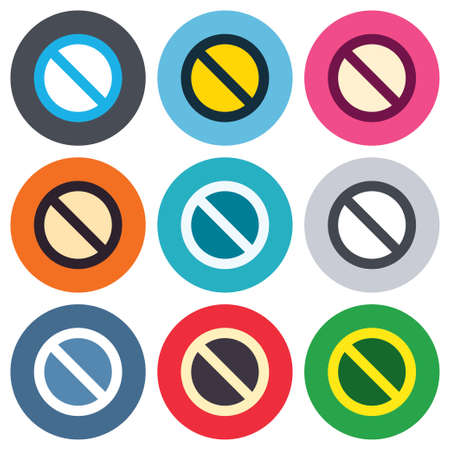 blacklist: Blacklist sign icon. User not allowed symbol. Colored round buttons. Flat design circle icons set. Vector