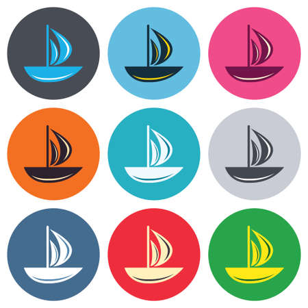 ship sign: Sail boat icon. Ship sign. Shipment delivery symbol. Colored round buttons. Flat design circle icons set. Vector Illustration