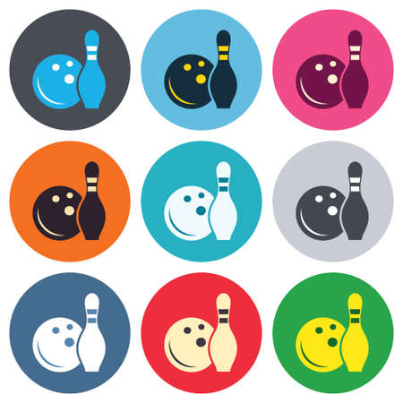 skittle: Bowling game sign icon. Ball with pin skittle symbol. Colored round buttons. Flat design circle icons set. Vector